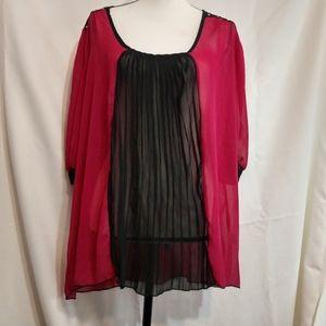 NWT Very Sexy Pink and Black Sheer Shirt